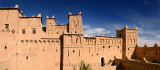 Rooftop panorama of World Heritage site Kasbah Amerhidil in the Skoura oasis Palm Grove Morocco