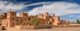Panorama of Kasbah Amerhidil on a dry river bed in the Skoura oasis Palm Grove Morocco