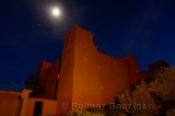 Kasbah Ait Ben Moro at night with stars and full moon at Skoura Morocco