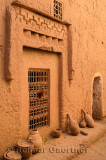 Sheep head at window in an alley at historic Kasbah Amerhidil in Skoura Morocco