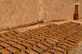 Straw reinforced mud bricks drying in the sun at Kasbah Ben Moro in Skoura Morocco