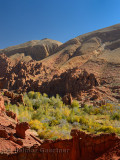 Tamnalt Kasbahs with red rock and limestone fingers in Dades Gorge Morocco