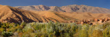 Panorama with Ait Arbi Kasbah ruins along the Dades Gorge river of the High Atlas mountains Morocco