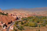 Farmland and red rock hills in Dades Gorge in the High Atlas mountains Morocco