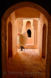 Worker carrying feed to dry in Kasbah Ait Mouted in Dades Gorge Morocco