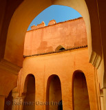 Arches in the inner courtyard of the crumbling Kasbah Ait Youl Dades Gorge Morocco