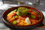 Vegetable Tagine lunch at an outdoor restaurant in Dades Gorge Morocco