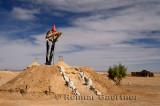 Berber tent and earth mound at a Khettara well in the arid Tafilalt basin of Morocco