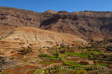 High Atlas mountains foothills along the Asif Imini river valley farmland in Morocco