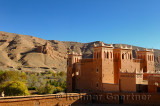 Renovated Kasbah overlooking farm fields in the Dades Gorge valley Morocco