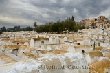 Large Jewish cemetery in the Mellah of Fes el Jedid Morocco with storm clouds