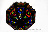 Classic Moroccan stained glass ceiling light fixture in Fes Morocco