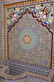 Newly completed Zellige terra cotta glazed tile water fountain mosaic pattern Fes Morocco shop