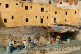 Fes leather tannery workers painting raw hides with blue chromium solution by Wadi Fes Morocco