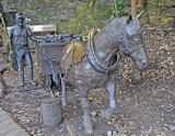 Bronze Representation of Horse-Drawn Coal Wagon