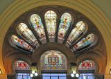 Beautiful Stained-Glass Windows Over Elegant Exit Door