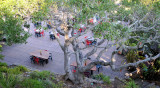 Looking down at outdoor restaurant area