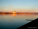 View from Kladovo dock - Romania in sunset colours