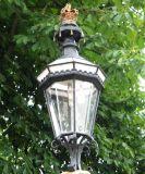 Lamp post with energy saving bulbs.