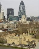 The 'Gherkin' looms over the Tower Of London