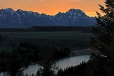 Sunset over the Tetons, from the Snake River Overlook