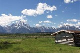 The Tetons, behind Historic Cunningham Cabin