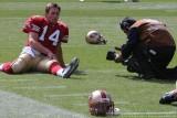 San Francisco 49ers QB J.T. O'Sullivan with CBS cameraman Fernando Thomas