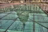 The Capitol's reflection in the new visitor's center