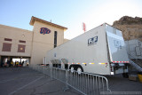 The CBS production trucks at the Sun Bowl in El Paso, Texas