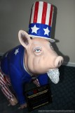 Uncle Ham pig sculpture in the emptied Obama headquarters (no joke) in Lafayette, IN