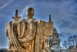 Supreme Court sculpture & the Capitol in HDR