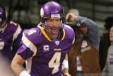 Minnesota Vikings QB Brett Favre & CBS Sports cameraman John Bruno