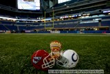 NFL Huddles: Kansas City Chiefs figure at the KC-Indy game at Lucas Oil Stadium - Indianapolis, IN