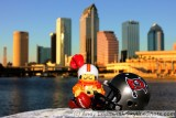 NFL Huddles: Tampa Bay Buccaneers huddles figure in downtown Tampa, FL