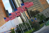 Flags in front of the Rennaissance Center - GM World Headquarters