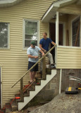 Tim and a fat guy build a new railing