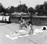 Zuie and Paul on clubhouse beach 1955