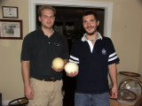 Tim and friend show off their ostrich eggs
