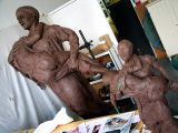 father & son :: smaller model and larger clay piece