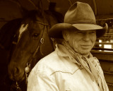 Cowboy and His Horse, Alpine Wyoming