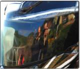 Bixby Bridge and Photographers in a Helmet Reflection