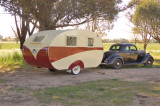 1935 Ford Coupe & mid 1940's restored caravan.