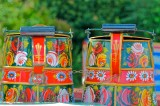 Colourful Water pots on the boats.