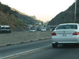 Traffic climbs up the canyon on Interstate 405