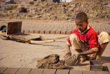 Child laborer making bricks - Lahore