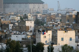 Satellite dishes surround the Mosque of Hassan II