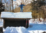 Skiing on Leanto Roof