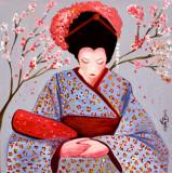芸者 Geisha with Cherry blossom