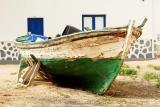 Green rowing boat