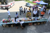 Stalls outside resthouse midway between Kaesong and Pyongyang
